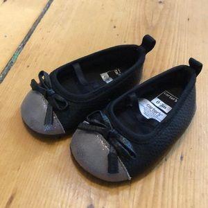 Carters Baby Girl Black & Silver Toe Ballet flats